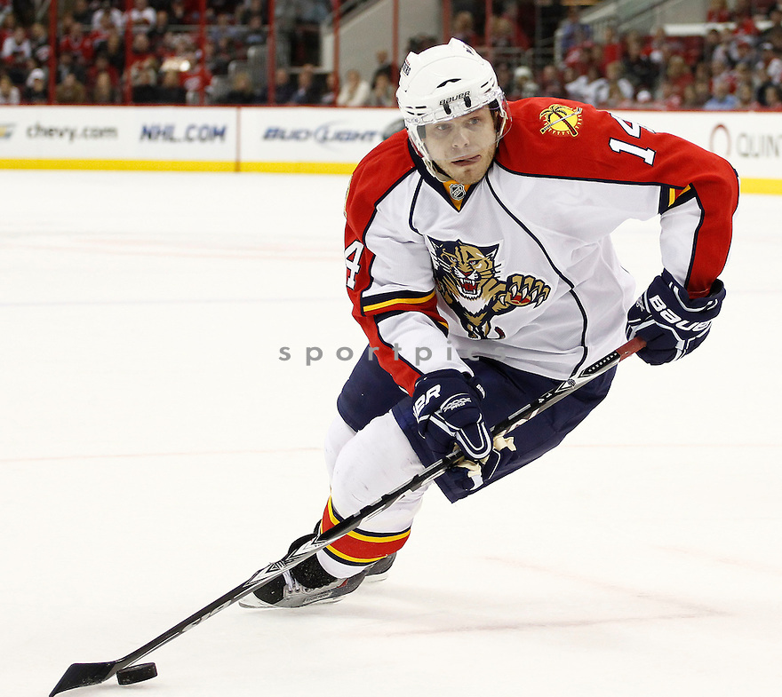 SERGEI SAMSONOV, of the Florida Panthers in action during the Panthers game against the Carolina Hurricanes on March 1, 201, at the RBC Center in Raleigh, NC. The Hurricanes beat the Panthers 2-1.