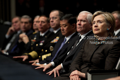West Point, NY - December 1, 2009 -- Presidential advisors, including from right, Secretary of State Hillary Rodham Clinton, Defense Secretary Robert Gates, Veterans Affairs Secretary Eric K. Shinseki, Admiral Michael Mullen, chairman of the Joint Chiefs of Staff, and Gen. David Petraeus, Commander, U.S. Central Command, listen to President Barack Obama's speech on Afghanistan at the U.S. Military Academy at West Point, Tuesday, December 1, 2009..Mandatory Credit: Pete Souza - White House via CNP