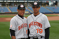 Hagerstown Suns Hector Pellot and Fernando Martinez #19 during a South Atlantic League game at Classic Park on April 16, 2006 in Eastlake, Ohio.  (Mike Janes/Four Seam Images)