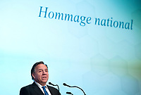 Quebec Premier Francois Legault speaks during a memorial service for Lise Payette in Montreal, Saturday, October 20, 2018. THE CANADIAN PRESS/Graham Hughes