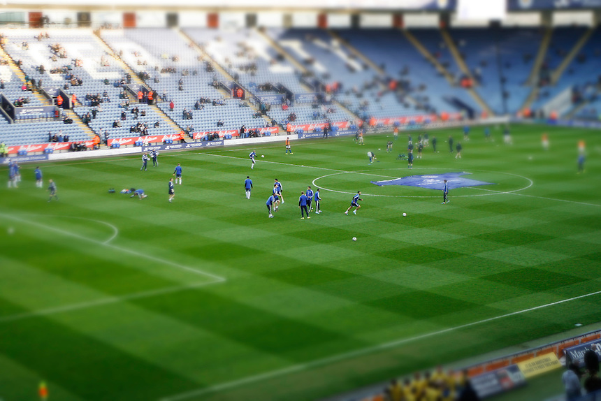 General view of the King Power Stadium as the players warm up before the match.. - (Photo by Jack Phillips/CameraSport) - ..Football - npower Football League Championship - Leicester City v Bolton Wanderers - Tuesday 16th April 2013 - King Power Stadium - Leicester..© CameraSport - 43 Linden Ave. Countesthorpe. Leicester. England. LE8 5PG - Tel: +44 (0) 116 277 4147 - admin@camerasport.com - www.camerasport.com