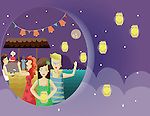 Illustration of people celebrating lantern festival at night