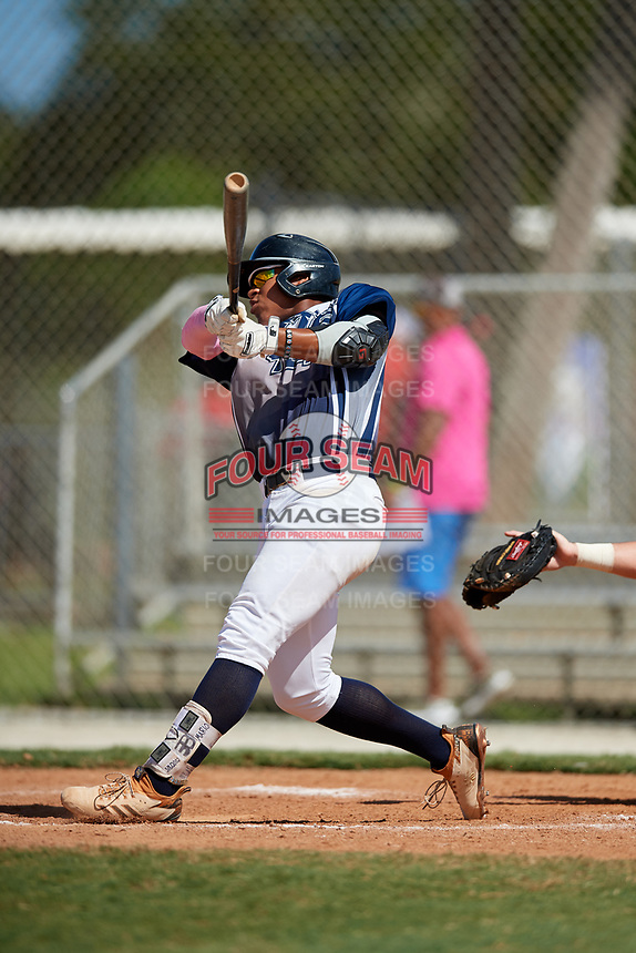 Mario Zabala during the WWBA World Championship at the Roger Dean Complex on October 20, 2018 in Jupiter, Florida.  Mario Zabala is an outfielder from San Juan, Puerto Rico who attends International Baseball Academy and is committed to Florida International.  (Mike Janes/Four Seam Images)