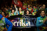 "People run on the 20th Korrika. Tutera (Basque Country). April 1, 2017. The ""Korrika"" is a relay course, with a wooden baton that passes from hand to hand without interruption, organised every two years in a bid to promote the basque language. The Korrika runs over 11 days and 10 nights, crossing many Basque villages and cities. This year was the 20th edition and run more than 2500 Kilometres. Some people consider it an honour to carry the baton with the symbol of the Basques, ""buying"" kilometres to support Basque language teaching. (Gari Garaialde / Bostok Photo)"