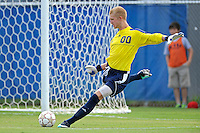 2 October 2011:  FIU goal keeper Rodney Greiling (00) returns the ball to play in the first half as the FIU Golden Panthers defeated the University of Kentucky Wildcats, 1-0 in overtime, at University Park Stadium in Miami, Florida.