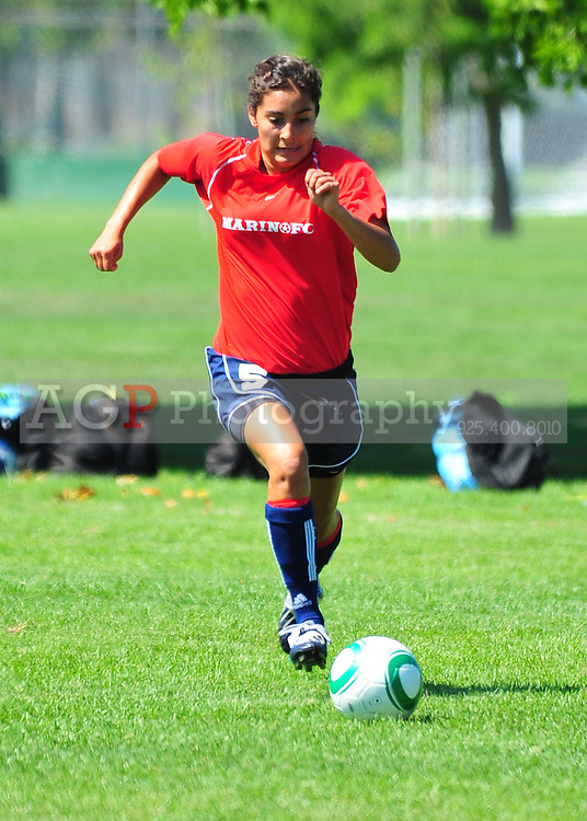Ellie Ceja of Marin FC plays  during the RAGE College Showcase 2010 at the Sports Park in Pleasanton California July 24, 2010. (Photo by Alan Greth)