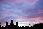 Angkor Wat Sunrise 02 - Angkor Wat silhouetted against pink, mauve and blue cloudy sky at dawn, from the causeway, Cambodia