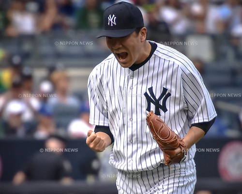 Masahiro Tanaka (Yankees), SEPTEMBER 13, 2015 - MLB : Masahiro Tanaka of the New York Yankees celebrates after pitching over seven scoreless innings during the Major League Baseball game at Yankee Stadium in the Bronx, New York, United States. (Photo by Hiroaki Yamaguchi/AFLO)