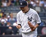 Masahiro Tanaka (Yankees), SEPTEMBER 13, 2015 - MLB : Masahiro Tanaka of the New York Yankees celebrates after pitching over seven scoreless innings during the Major League Baseball game at Yankee Stadium in the Bronx, New York, United States. (Photo by Hiroaki Yamaguchi/AFLO)