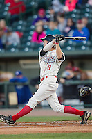 Great Lakes Loons outfielder Logan Landon (9) follows through on his swing against the South Bend Cubs on May 18, 2016 at Dow Diamond in Midland, Michigan. Great Lakes defeated South Bend 5-4. (Andrew Woolley/Four Seam Images)