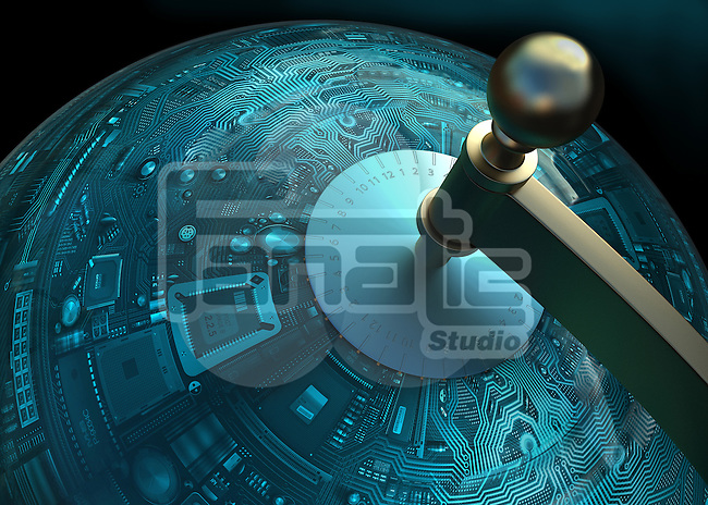 Conceptual image of circuit board in globe shape depicting globalization of technology
