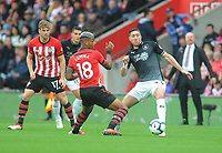 Southampton's Mario Lemina under pressure from Burnley's Daniel Agyei<br /> <br /> Photographer Kevin Barnes/CameraSport<br /> <br /> The Premier League - Southampton v Burnley - Sunday August 12th 2018 - St Mary's Stadium - Southampton<br /> <br /> World Copyright &copy; 2018 CameraSport. All rights reserved. 43 Linden Ave. Countesthorpe. Leicester. England. LE8 5PG - Tel: +44 (0) 116 277 4147 - admin@camerasport.com - www.camerasport.com