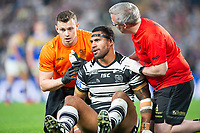 Picture by Allan McKenzie/SWpix.com - 19/04/2018 - Rugby League - Betfred Super League - Hull FC v Leeds Rhinos - KC Stadium, Kingston upon Hull, England - Mickey Paea is attended to after injury.