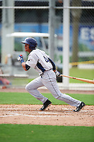 GCL Rays shortstop Kevin Santiago (4) at bat during the first game of a doubleheader against the GCL Red Sox on August 9, 2016 at JetBlue Park in Fort Myers, Florida.  GCL Rays defeated GCL Red Sox 5-4.  (Mike Janes/Four Seam Images)
