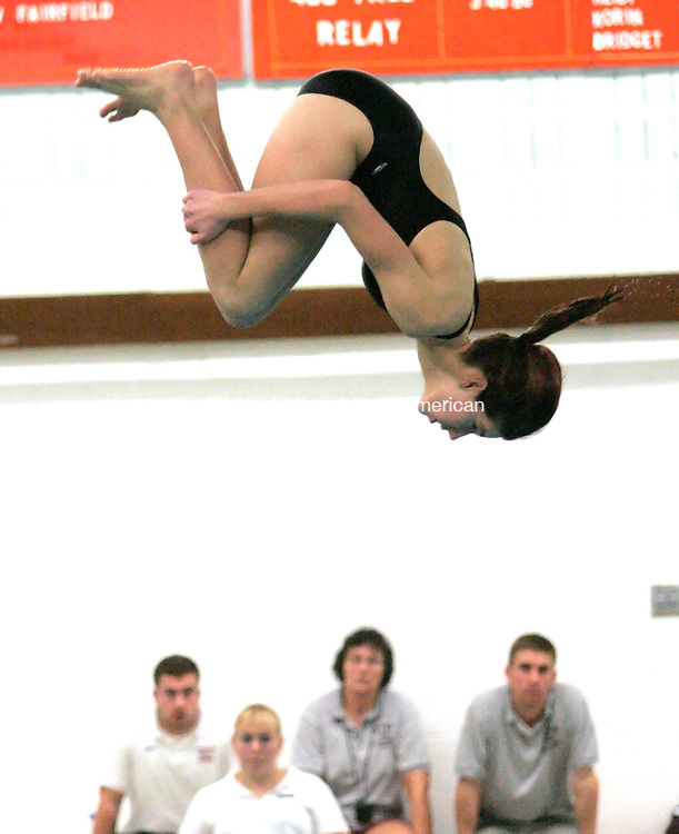 WATERTOWN, CT - 02 FEBRUARY 2007 - 020207JW03.jpg --  (ACTION MAN) Torrington Kristen Stearns competes in the diving competition against Watertown Friday evening at Watertown. Jonathan Wilcox Republican-American