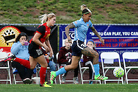 Piscataway, NJ, May 7, 2016.  Tasha Kai  (32) of Sky Blue FC dribbles down the side line with Abby Dahlkemper (13) of the Western New York Flash on her heels.  The Western New York Flash defeated Sky Blue FC, 2-1, in a National Women's Soccer League (NWSL) match at Yurcak Field.