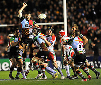 Heineken Cup. London, England. Nick Easter of Harlequins clears the ball down during the Heineken Cup Pool 3 match between Harlequins and Biarritz Olympique at Twickenham Stoop on October 13, 2012 in London, England.