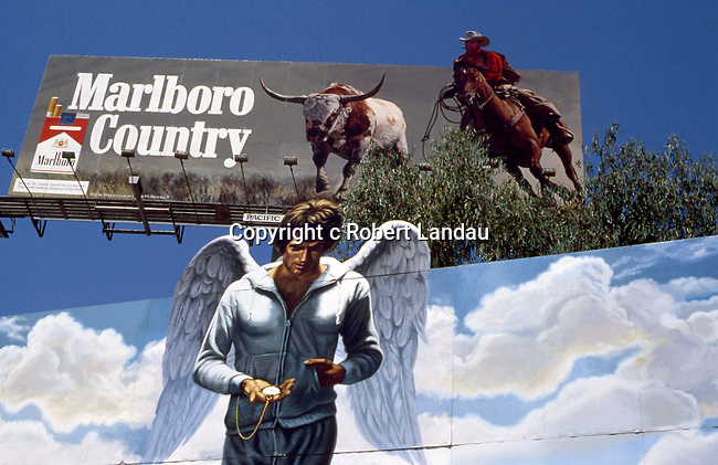 Warren Beatty Heaven Can Wait billboard with Marlboro Cowboy, Sunset Strip, 1978