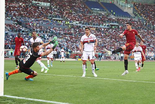 May 28th 2017, Stadio Olimpico, Rome, Italy, Serie A football, Roma versus Genoa; Perotti shoots and score for 3-2 for Roma