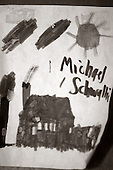 """A close up of a picture on Sunday December 4, 2005 Michael Schwallie's drew when he was 41 years old. Michael now 43 and autistic, lives at the Sobolevitch House in Robbinsville, NJ.,  one of Eden's first group homes and has been home to Michael for more then 20 years. Autism was relatively not known at the time Michael was diagnosed around the age of 4 1/2. In fact, his pediatrician in Cleveland, Ohio accused Michael's parents for """"creating an angry child"""" and giving no """"consistency"""" in the parenting of young Michael. Michael who has 5 other siblings, has a younger brother with Asperger's syndrome which is similar to autism Autism is on the rise in America and it is estimated that 1.5 million Americans are afflicted with the neurological disorder. There is no known cure for autism nor no known origin. Those families afflicted with the disease, have a greater chance of having a child with some form of autism. This includes the siblings offspring as well. photo by jane therese"""