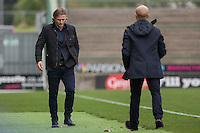 Wycombe manager Gareth Ainsworth looks dejected as he goes to shake hands with Yeovil manager Darren Way at full time of the Sky Bet League 2 match between Yeovil Town and Wycombe Wanderers at Huish Park, Yeovil, England on 8 October 2016. Photo by Mark  Hawkins / PRiME Media Images.