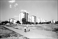 Apartment Blocks in Neighborhood outside of the city center. Skopje, Macedonia, July 2000 &copy; Stephen Blake Farrington&amp;#xA;<br />