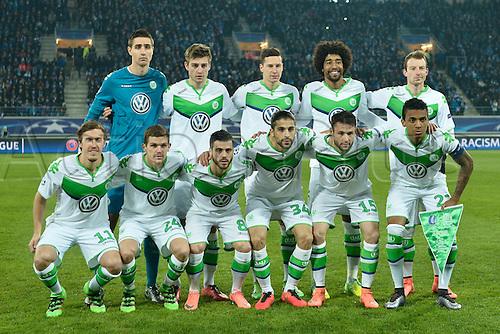 17.02.2016. Gent, Belgium. UEFA Champions League football. KAA Gent versus VfL Wolfsburg.  Team VfL Wolfsburg