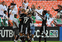 DC United forward Danny Allsopp (9) celebrates his second goal with team mates in the 34th minute of the game. DC United defeated The Kansas City Wizards  2-0 at RFK Stadium, Wednesday May 5, 2010.