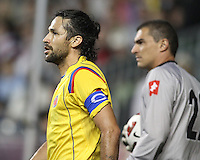 Mario Yepes #3 and Farid Mondragon #22 of Colombia during an international friendly match against the USA MNT at PPL Park, on October 12 2010 in Chester, PA. The game ended in a 0-0 tie..