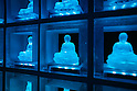 The Ruriden memorial hall at the Koukoku-ji temple on February 11, 2016 in Tokyo, Japan. In a country with an ageing population and a premium on space it is a modern collective tomb. Inside the hexagonal mausoleum there are over 2000 glass Buddhas lit by LED lights. Behind the Buddhas are compartments to store the ashes of the deceased. The light display changes color and pattern according to the season and time, and using a card reader system visitors can touch their card and display will change to indicate the Buddha representing their deceased. (Photo by Martin Hladik/AFLO)