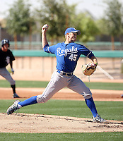 Jason Adam #45 of the Kansas City Royals pitches in an extended spring training game against the Chicago White Sox at the White Sox complex on April 16, 2011 in Glendale, Arizona. .Photo by:  Bill Mitchell/Four Seam Images.