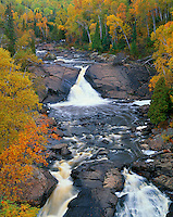 Superior National Forest, MN: Beaver River Falls in autumn near Silver Bay