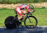 Race leader Red Jersey Simon Yates (GBR) Mitchelton-Scott in action during Stage 16 of the La Vuelta 2018, an individual time trial running 32km from Santillana del Mar to Torrelavega, Spain. 11th September 2018.                    Picture: Karlis Medrano | Cyclefile<br /> <br /> <br /> All photos usage must carry mandatory copyright credit (&copy; Cyclefile | Karlis Medrano)