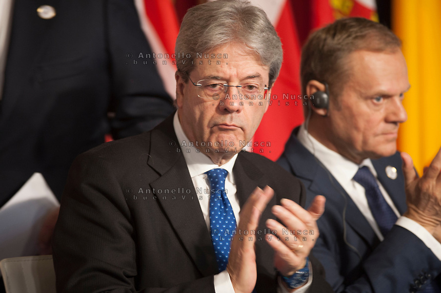 Rome, Italy, March 25,2017. Italian Prime Minister Paolo Gentiloni, attends the meeting in the Orazi and Curiazi Hall at the Palazzo dei Conservatori during an EU summit in Rome. European Union leaders were gathering in Rome to mark the 60th anniversary of their founding treaty and chart a way ahead following the decision of Britain to leave the 28-nation bloc.