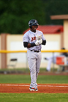 Jupiter Hammerheads left fielder Yuniel Ramirez (14) leads off first base during a game against the Lakeland Flying Tigers on March 14, 2016 at Henley Field in Lakeland, Florida.  Lakeland defeated Jupiter 5-0.  (Mike Janes/Four Seam Images)