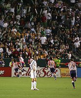 LA Galaxy midfielder David Beckham (23) reacts after Chivas scores their second goal of the game. CD Chivas USA defeated the LA Galaxy 3-0 in the Super Classico MLS match at the Home Depot Center in Carson, California, Thursday, August 23, 2007.