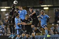1st November 2019; Leichhardt Oval, Sydney, New South Wales, Australia; A League Football, Sydney Football Club versus Newcastle Jets; Abdiel Arroyo of Newcastle Jets and Ryan McGowan of Sydney rise to meet the corner kick - Editorial Use
