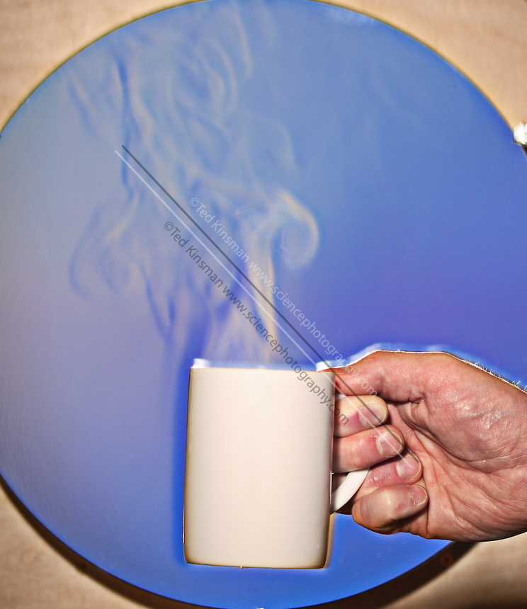 A schlieren image of a hot coffee cup.  The schlieren images identifies areas of different temperature by using the change in the index of refraction of a fluid due to a change in temperature.