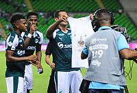 PALMASECA-COLOMBIA,28 -07-2018.Jose Sand del Deportivo Cali celebra su gol contra el Atlético Huila durante partido por la fecha 2 de la Liga Águila II 2018 jugado en el estadio Deportivo Cali de la ciudad de Palmira./ Jose Sand player of Deportivo Cali celebrates his goal agaisnt Atletico Huila during the match for the date 2 of the Aguila League II 2018 played at Deportivo Cali stadium in Palmaseca city. Photo: VizzorImage/ Nelson Rios / Contribuidor