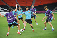 Football - Spain Training - Donbass Arena, Donetsk, Ukraine - 22/6/12..Spain's Xabi Alonso (C) and Fernando Llorente (R) during training..Mandatory Credit: Action Images / Henry Browne..Livepic