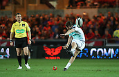29th September 2017, Parc y Scarlets, Llanelli, Wales; Guinness Pro14 Rugby, Scarlets versus Connacht; Jack Carty of Connacht kicks the penalty