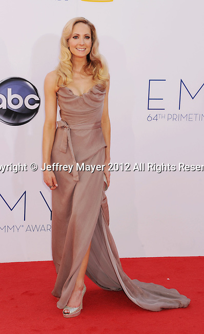 LOS ANGELES, CA - SEPTEMBER 23: Joanne Froggatt  arrives at the 64th Primetime Emmy Awards at Nokia Theatre L.A. Live on September 23, 2012 in Los Angeles, California.