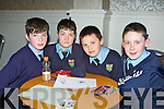 Tiernaboul NS pupils who competed in the Credit Union National School's table quiz in the Killarney Oaks Hotel on Sunday l-r: James Lynch, Darragh O'Leary, Sean Sullivan and Kianan O'Doherty .