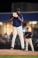 Mobile BayBears relief pitcher Samil De Los Santos (46) gets ready to deliver a pitch during a game against the Chattanooga Lookouts on May 5, 2018 at Hank Aaron Stadium in Mobile, Alabama.  Chattanooga defeated Mobile 11-5.  (Mike Janes/Four Seam Images)