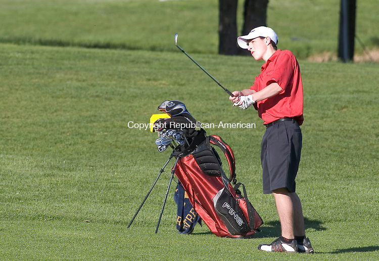 SOUTHBURY, CT - 03 MAY 2007 - 050307JW06.jpg -- Pomperaug Nick Taylor follows his drive Thursday afternoon at Heritage Village Golf course. Pomperaug defeated Bethel 150-215. Jonathan Wilcox Republican-American