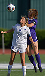Notre Dame's Lara Beussink (front) and Rosati-Kain's Bridget Hurley leap for a header. Notre Dame High School (Cape Girardeau) defeated Rosati-Kain in the Class 2 girls quarterfinal game played at St. Louis University High School in St. Louis, MO on Wednesday May 22, 2019.<br /> Tim Vizer/Special to STLhighschoolsports.com