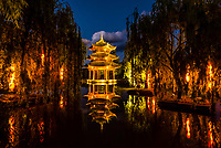 A pagoda at the Banyan Tree Lijiang resort hotel, Shuhe, Yunnan Province, China.