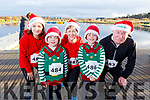 Dara, Etan and Cameron Quirke with Marian and Padraig Flannagan ready to run for fun at the Santa Fun run in memory of Fiona Moore, in the Tralee Bay Wetlands on Sunday.
