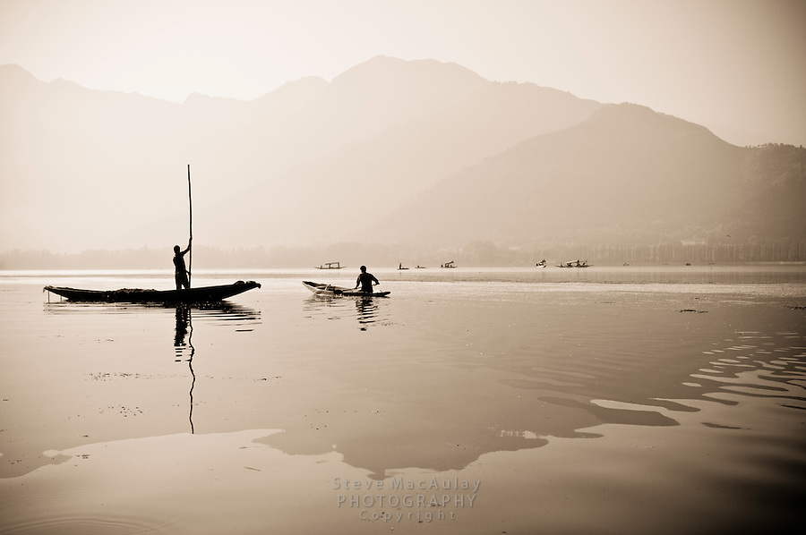 Traditional Kashmiri shikaras on Dal Lake at sunrise, Srinagar, Kashmir, India.