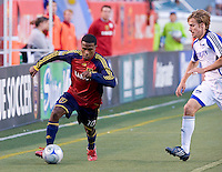 KC Wizards DF Aaron Holhbein and Real Salt Lake FW Robbie Findley in the 0-0 draw between Real Salt Lake and Kansas City Wizards, June 7, 2008 at Rice-Eccles Stadium in Salt Lake City, Utah